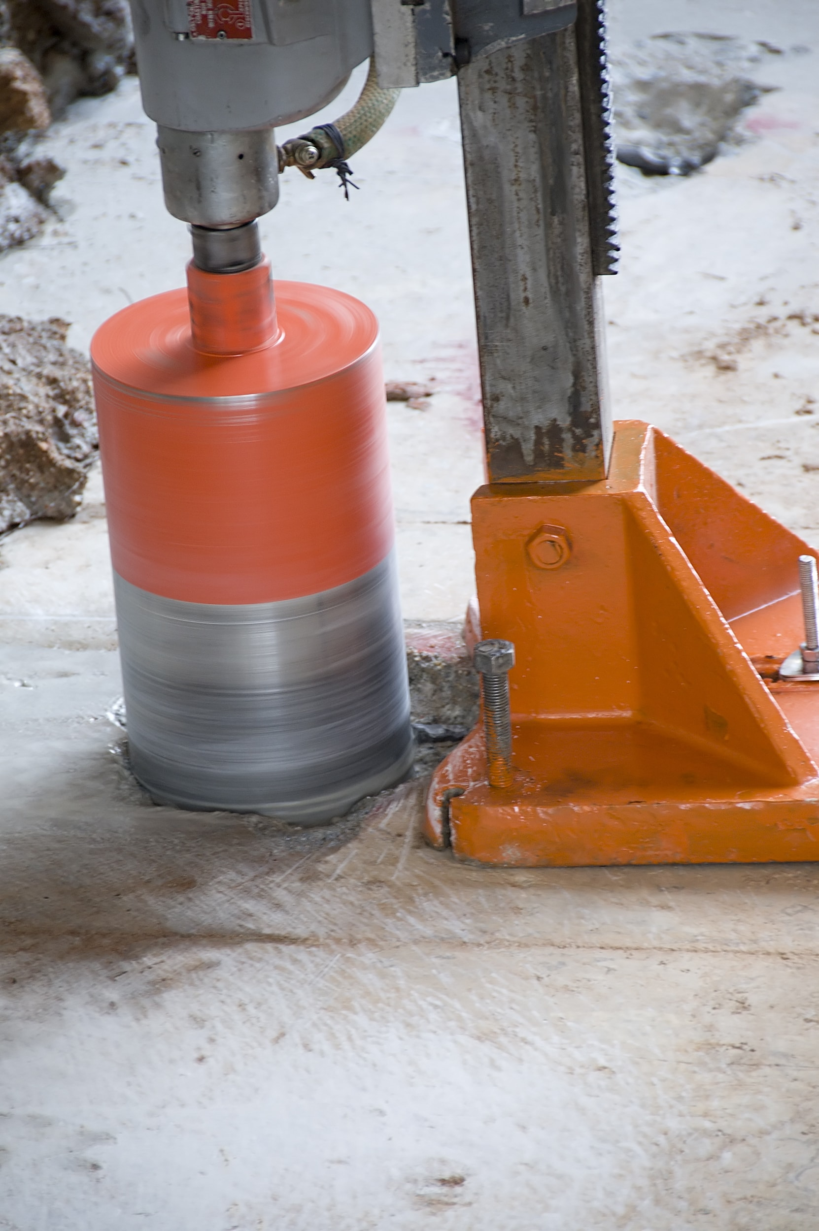 Core drilling into concrete